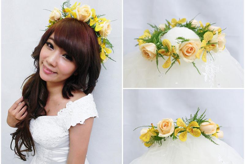 新娘造型│不規則感黃色系鮮花花環造型