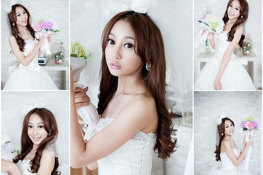 新娘造型│祁迹日系蝴蝶結短頭紗長捲髮造型
