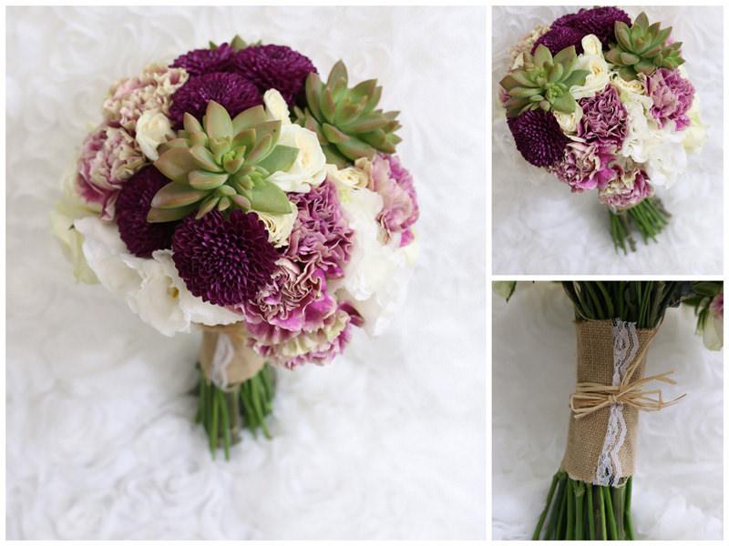 多肉植物自然莖新娘捧花