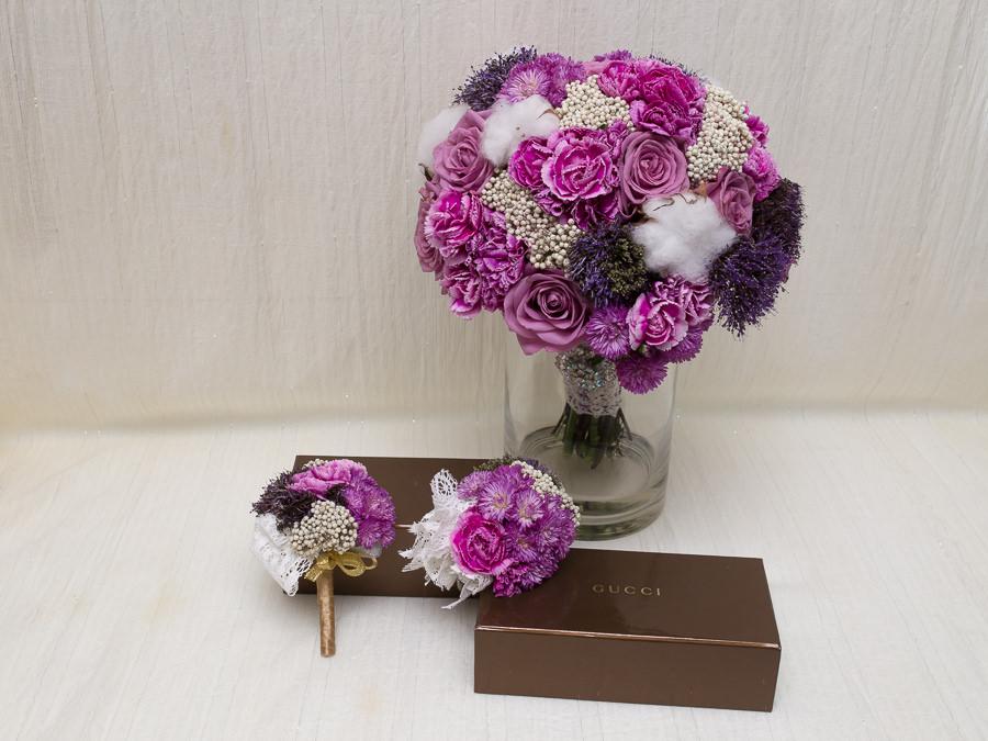 華麗貴氣感紫色新娘捧花│孟修&昀靖婚宴
