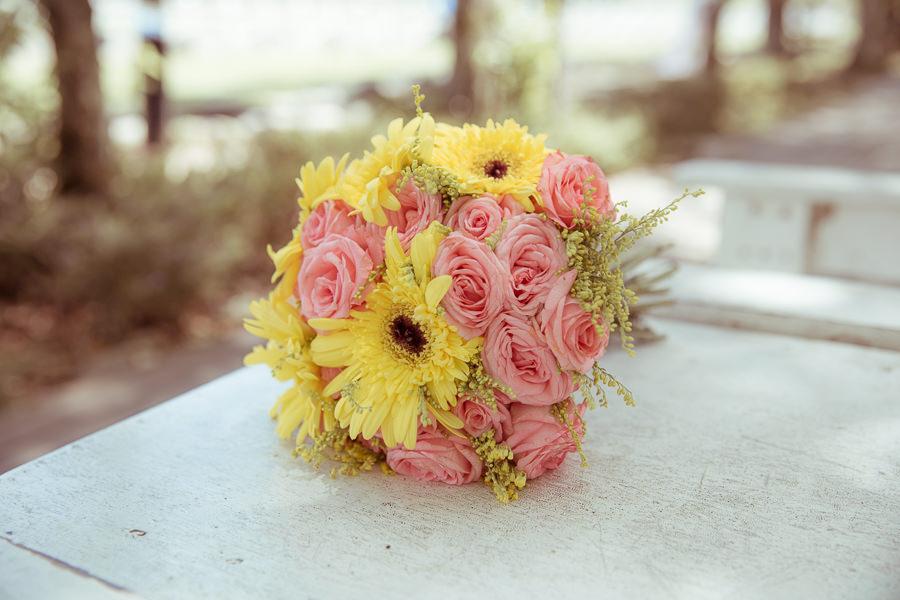 亮麗甜美的黃粉色新娘捧花│小穎自助婚紗
