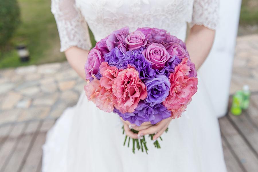 浪漫艷麗的紫色新娘捧花│周上&妤兒婚宴