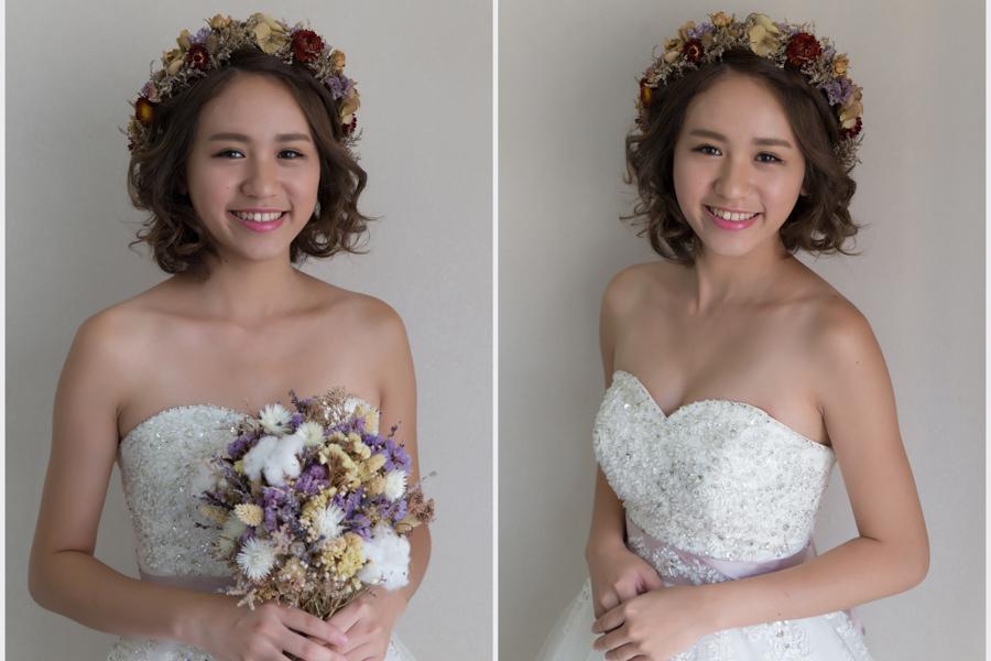 新娘造型│甜美夏日感的短髮新娘乾燥花花環造型