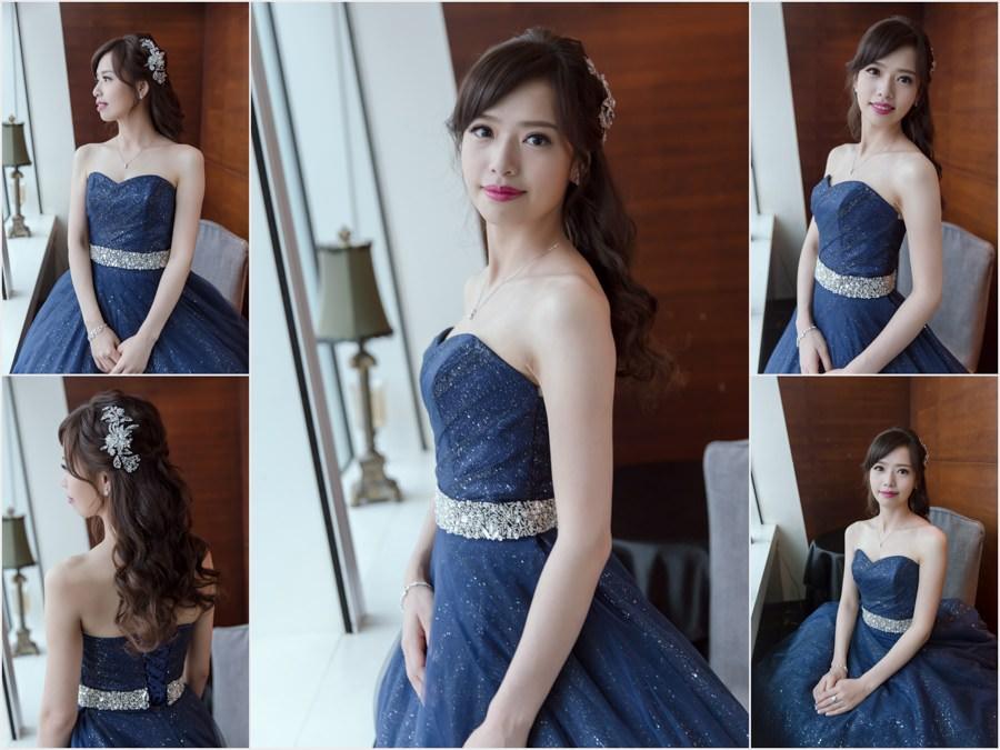 新秘Yuki│新秘推薦│藍色禮服│深色禮服│公主頭│新娘髮型