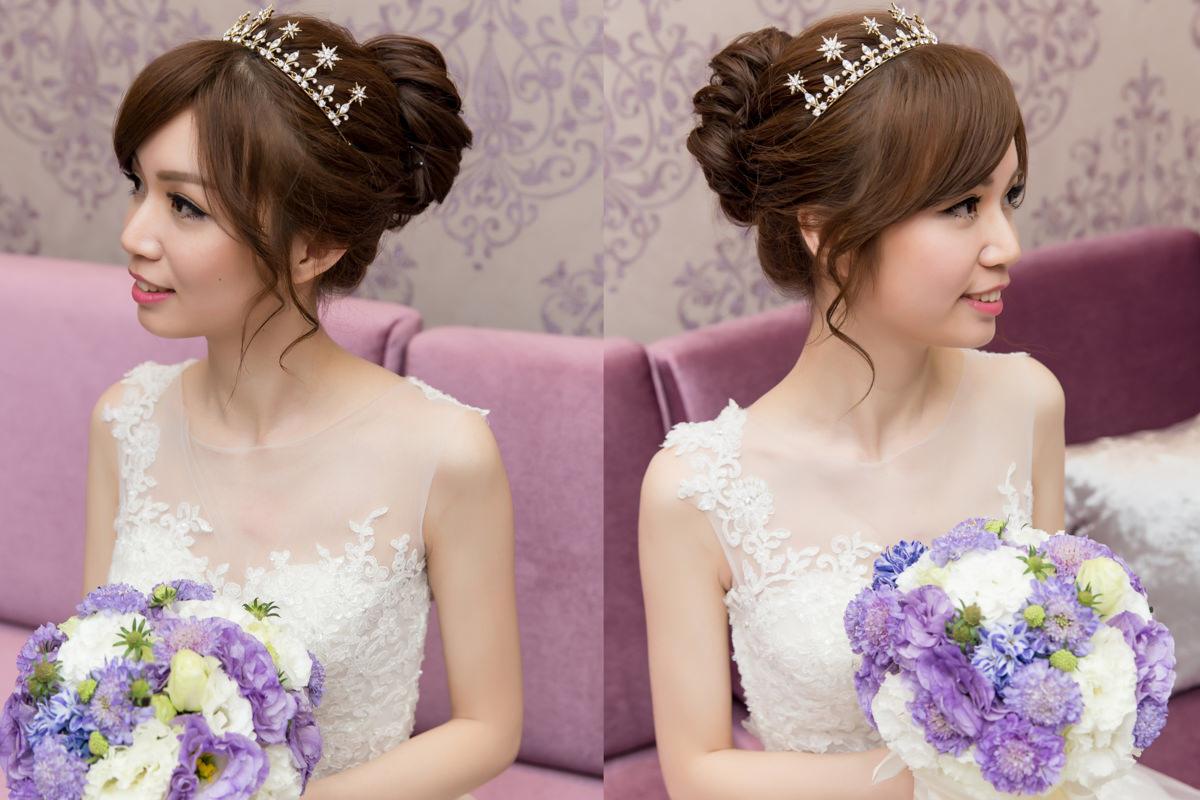 桃園新秘│兼具立體感與透亮的妝容,塑造高質感造型~鴻全&蕙檸婚宴