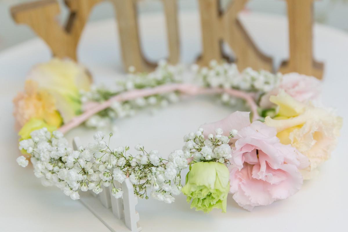 不規則狀自然感的粉嫩鮮花花環