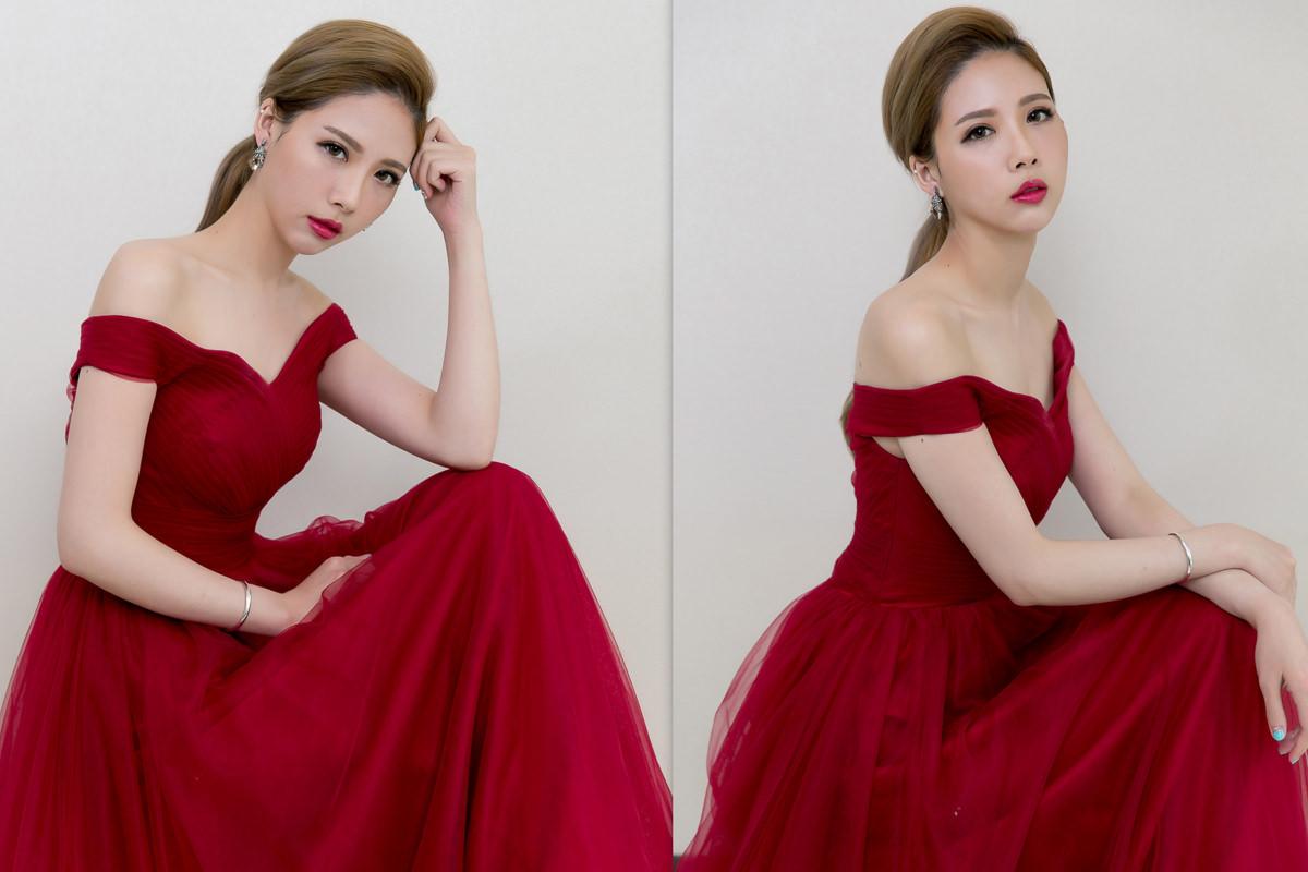 新娘造型│低馬尾造型│紅色禮服