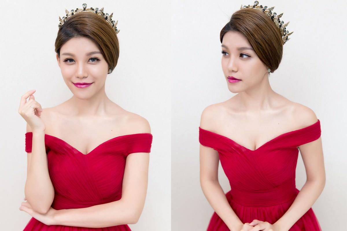 盤髮造型│新娘造型│紅色禮服│深色禮服│公主風格│女王風格