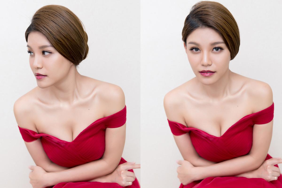 盤髮造型│新娘造型│紅色禮服