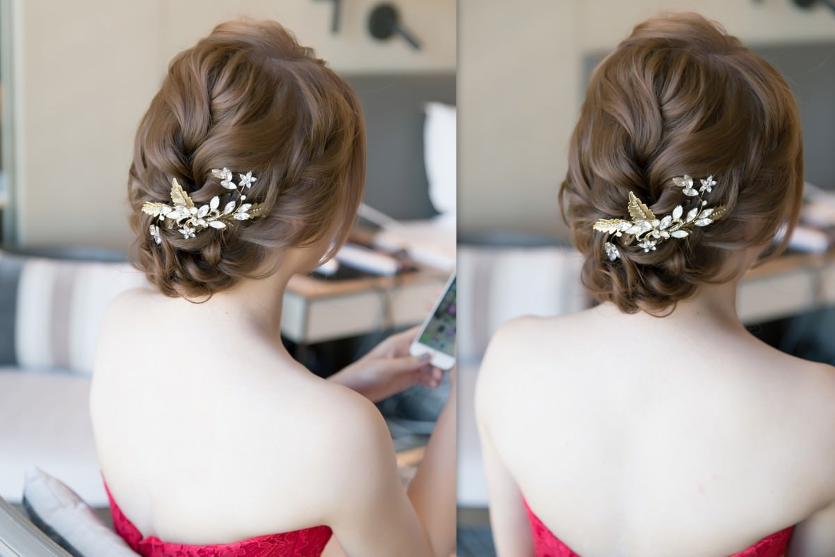新秘Yuki│台北新秘│紅色禮服│盤髮│新娘編髮│新娘髮型│bun hairstyle|線條感盤髮|編髮造型|新娘造型|婚宴造型