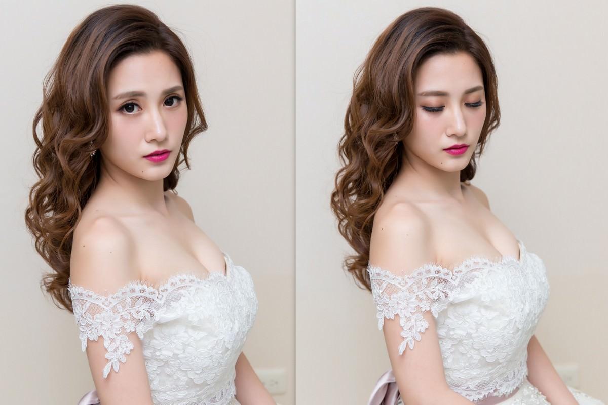 新秘Yuki│新秘推薦│北部新秘│白紗造型│長捲髮│新娘髮型│side-swept hairstyle│2017 Wedding Hairstyles