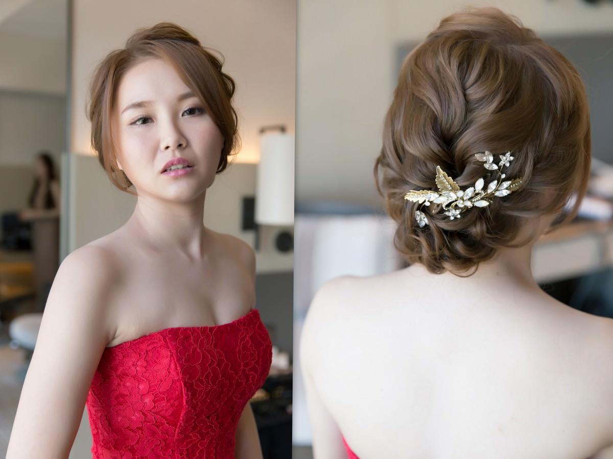 新秘Yuki│新秘推薦│北部新秘│紅色禮服│盤髮│新娘髮型│bun hairstyle│2017 Wedding Hairstyles