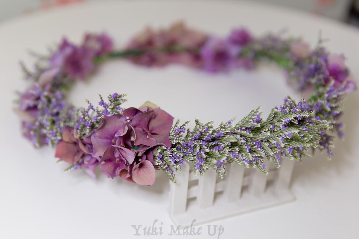 紫色系卡斯比亞鮮花花環