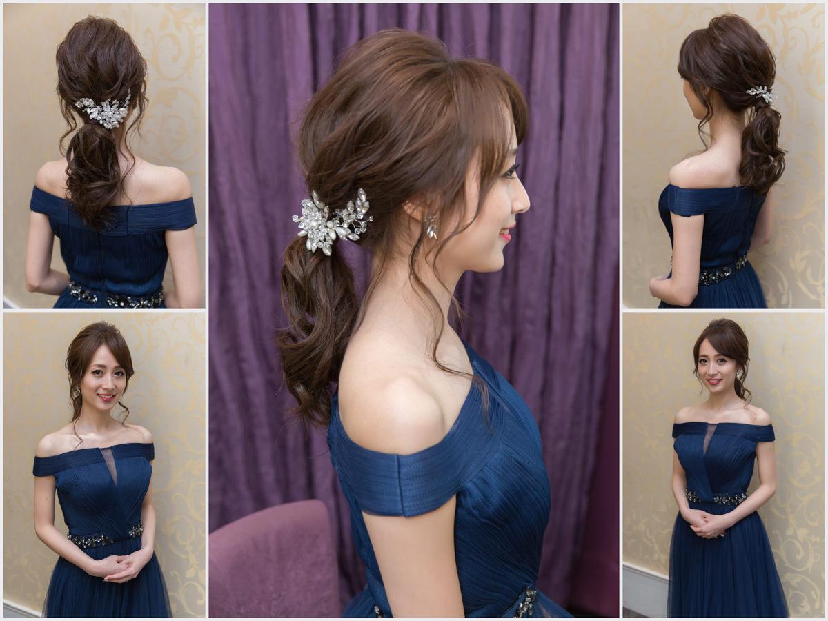 新秘Yuki│新秘推薦│北部新秘│藍色禮服│低馬尾│新娘髮型│low ponytail hairstyle│2017 Wedding Hairstyles