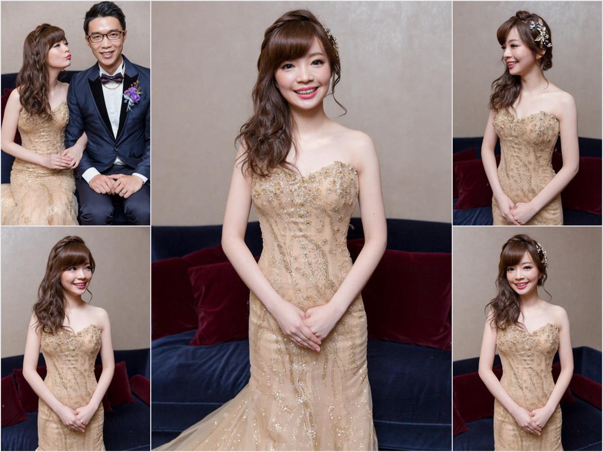 新秘Yuki│新秘推薦│北部新秘│金色禮服│側邊髮│新娘編髮│新娘髮型│side-swept hairstyle│2017 Wedding Hairstyles