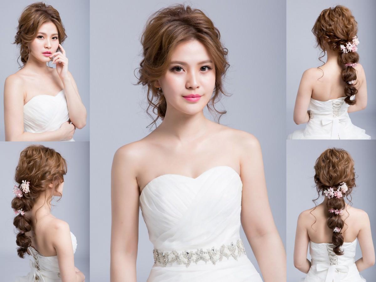 新秘Yuki│新秘推薦│北部新秘│白紗造型│鮮花造型│丸子低馬尾│新娘編髮│新娘髮型│low ponytail hairstyles│2017 Wedding Hairstyles