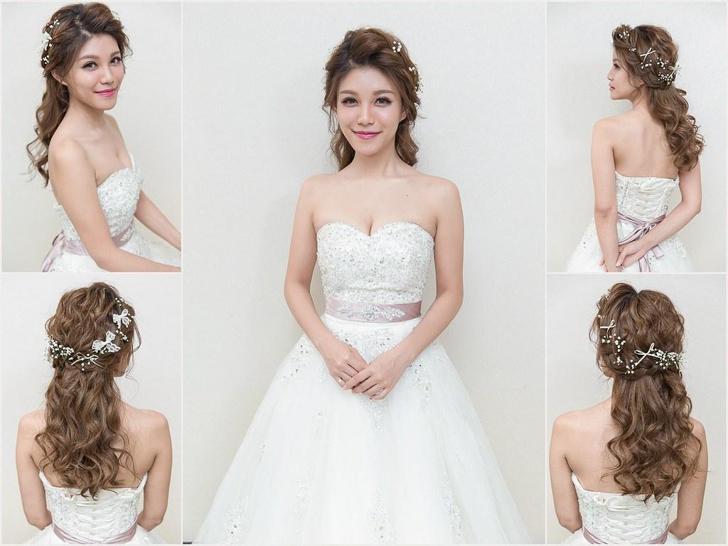 新秘Yuki│新秘推薦│北部新秘│白紗造型│鮮花造型│公主頭│新娘髮型│half up hairstyle│2017 Wedding Hairstyles