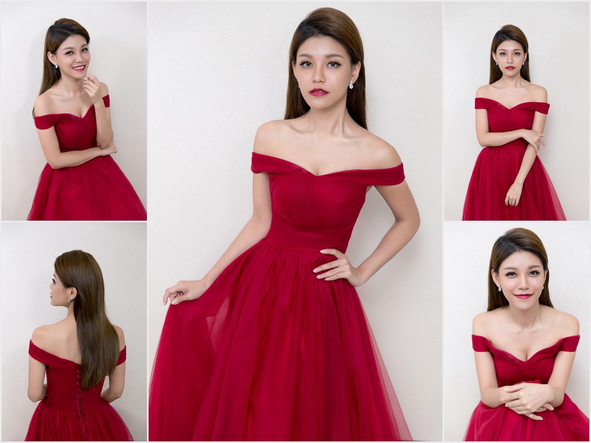 新秘Yuki│新秘推薦│北部新秘│紅色禮服│類油頭│新娘髮型│slicked hairstyle-like│2017 Wedding Hairstyles