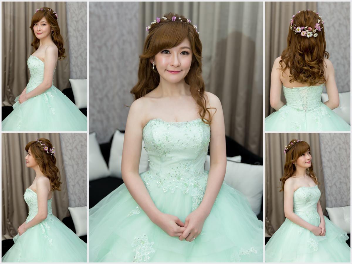 新秘Yuki│新秘推薦│北部新秘│綠色禮服│鮮花造型│花環造型│長捲髮│新娘髮型│wavy hairstyle with flower crown│2017 Wedding Hairstyles