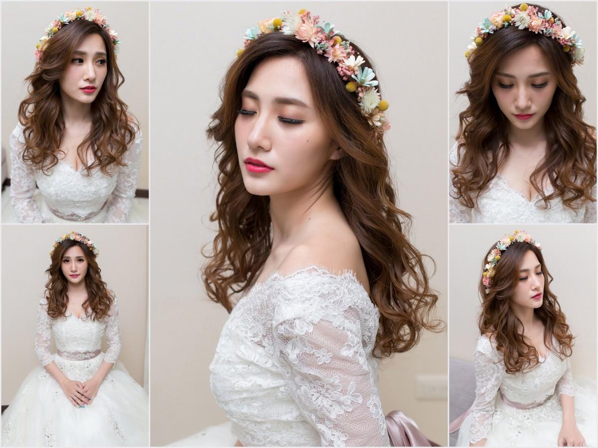 新秘Yuki│新秘推薦│北部新秘│白紗造型│鮮花造型│花環造型│長捲髮│新娘髮型│wavy hairstyle with flower crown│2017 Wedding Hairstyles
