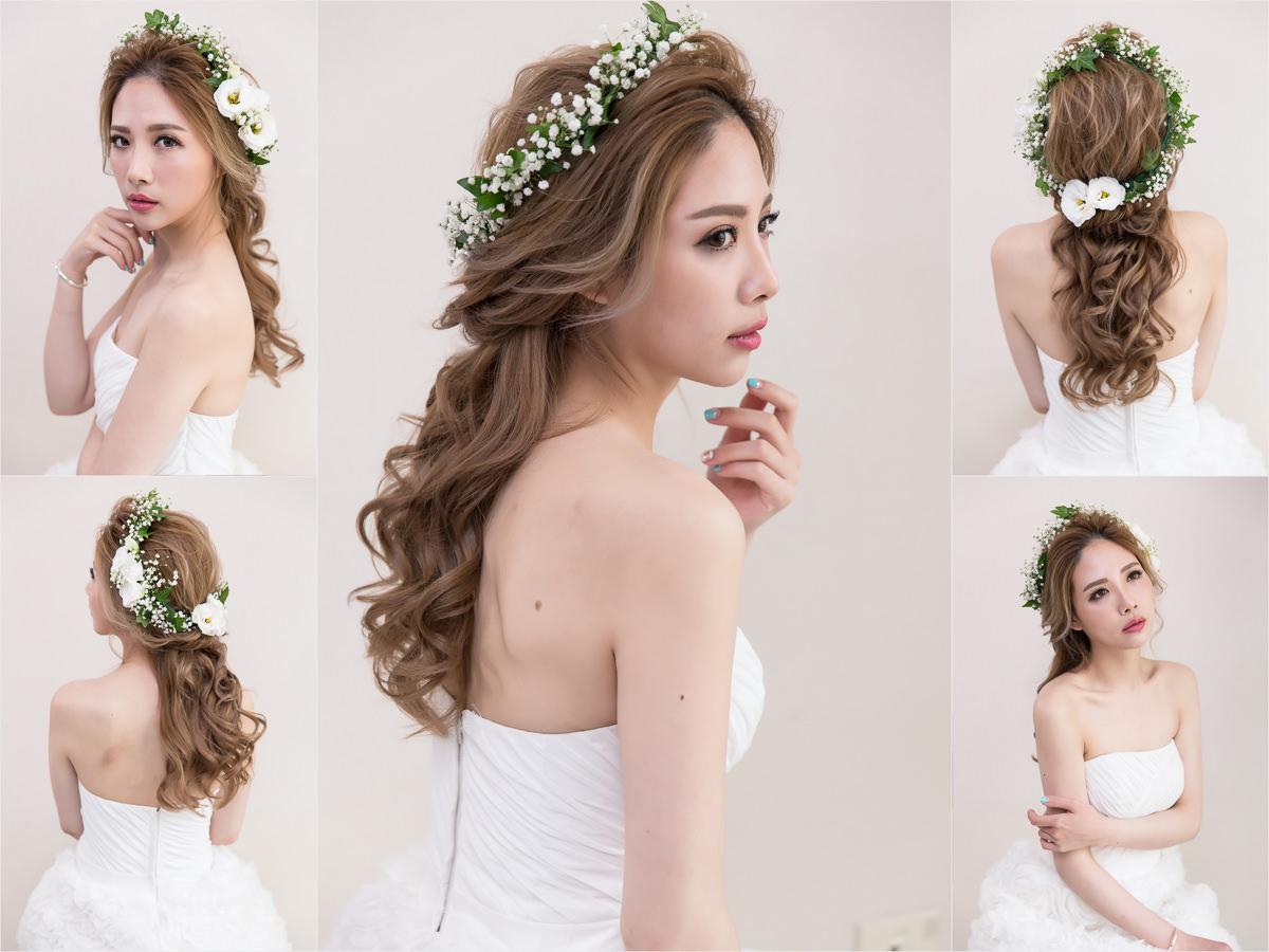 新秘Yuki│新秘推薦│北部新秘│白紗造型│鮮花造型│花環造型│公主頭│新娘髮型│half-up hairstyle with flower crown│2017 Wedding Hairstyles