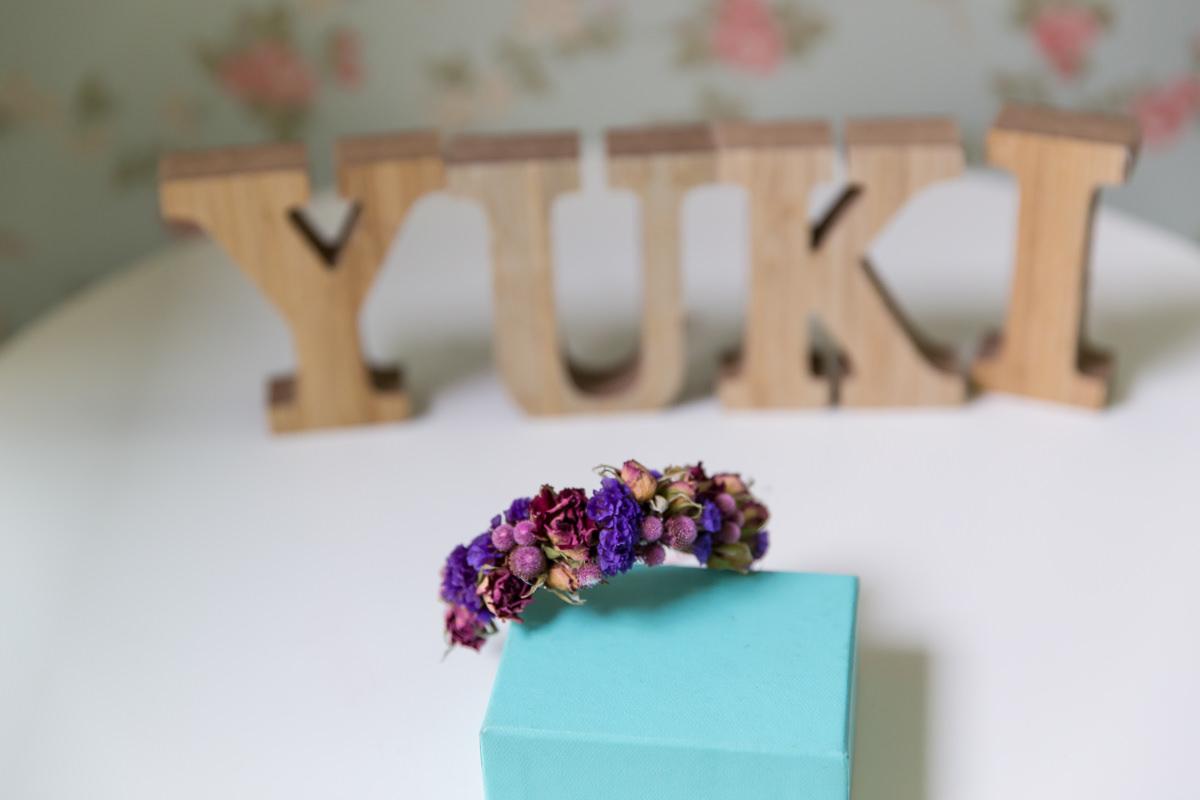 紫色乾燥花新娘手腕花