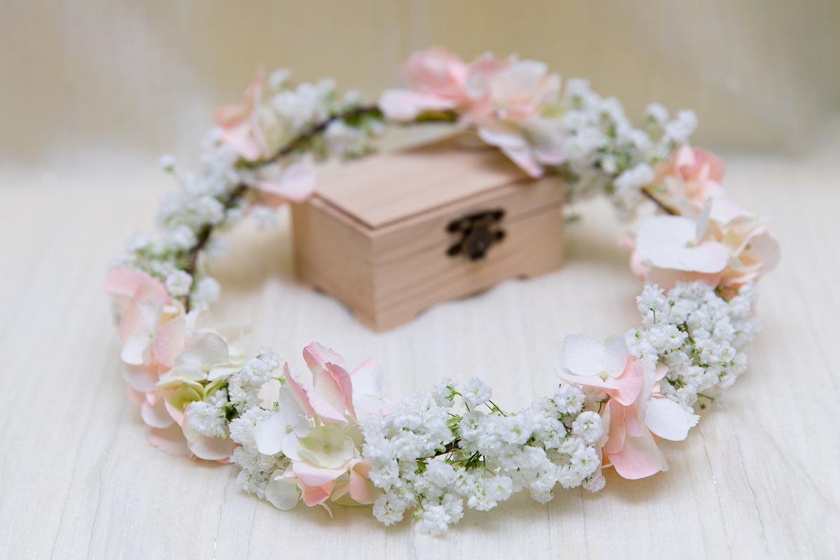 粉白色繡球花新娘花環