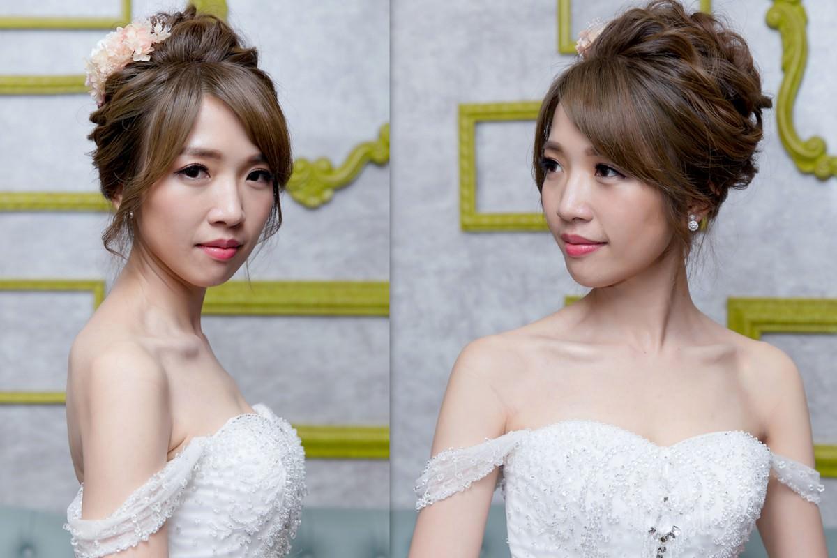 新秘Yuki│新秘推薦│北部新秘│白紗造型│鮮花造型│盤髮│新娘髮型│bun hairstyle with flowers│2017 Wedding Hairstyles