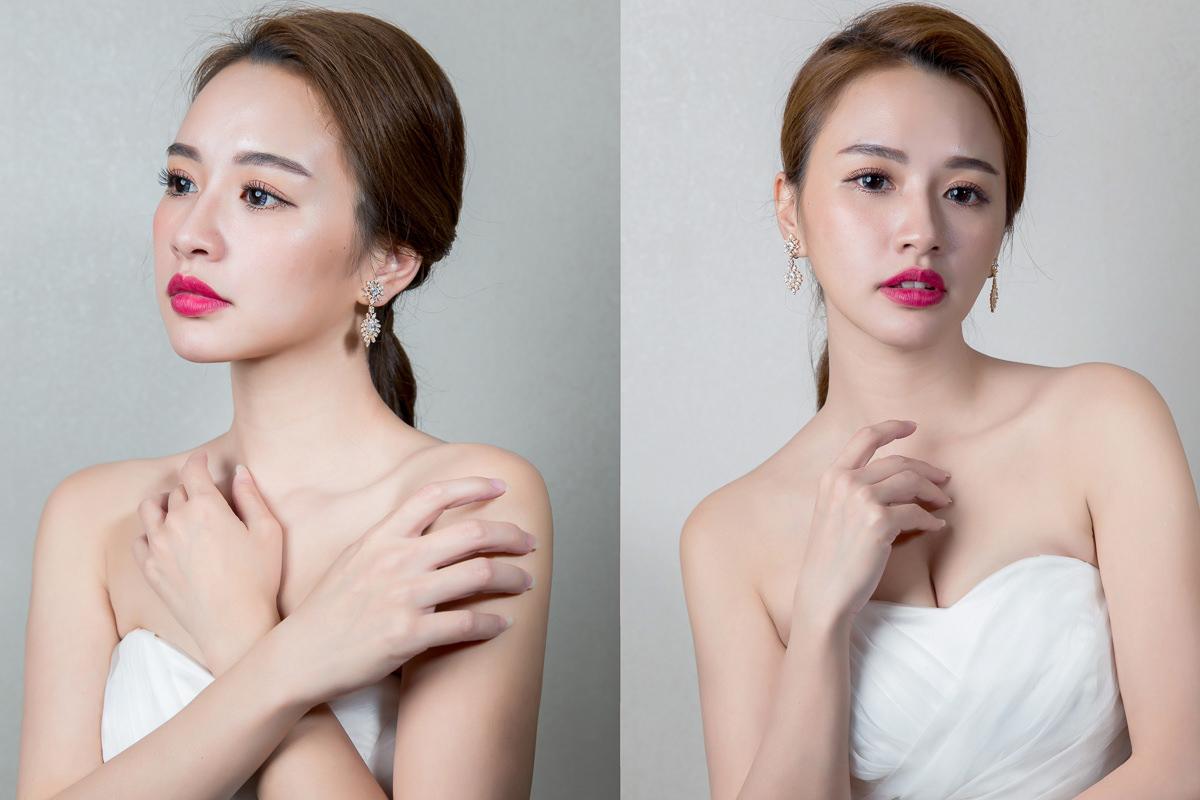 台北新秘|新娘造型|低馬尾|紅唇|新娘妝容|