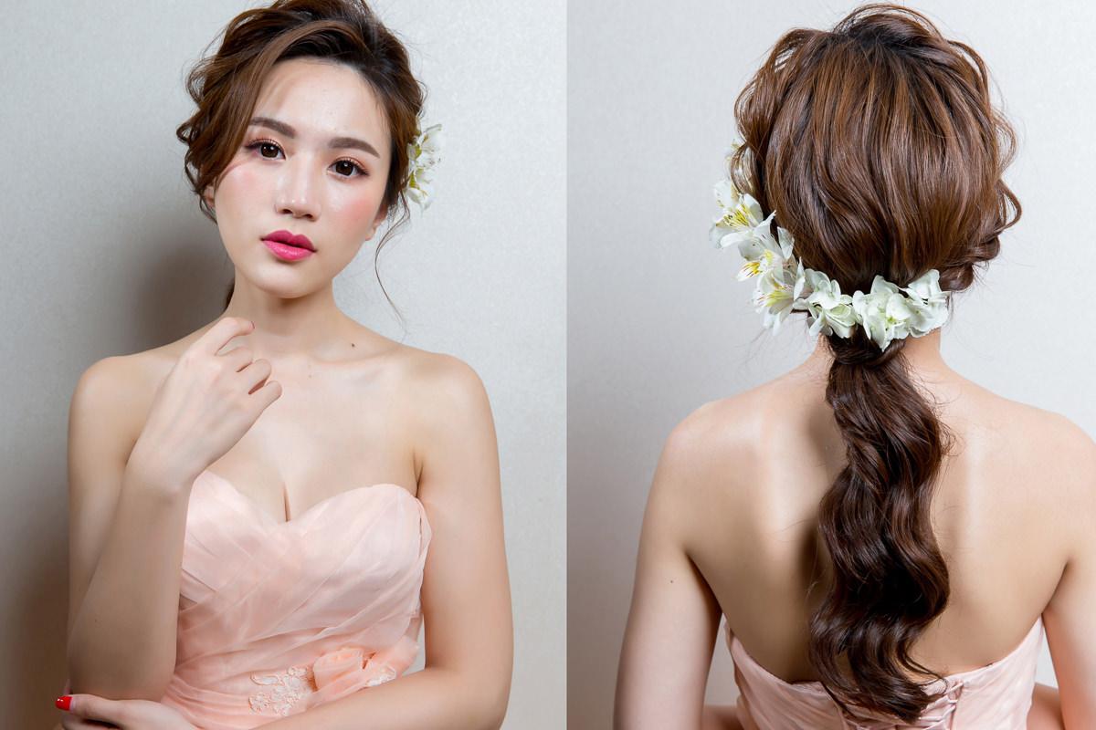 甜美|新娘妝容|低馬尾|小清新|新娘造型|3CE#408|鮮花造型|高雄新秘