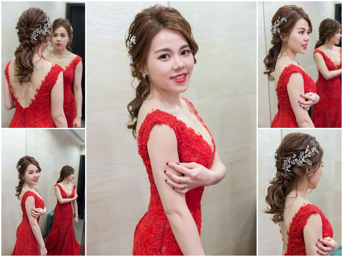 高雄新秘|賽西亞婚紗|wedding hairstyle|蓬鬆感|低馬尾造型|紅色新娘禮服|新娘造型|華麗風新娘|婚宴造型|新娘髮型