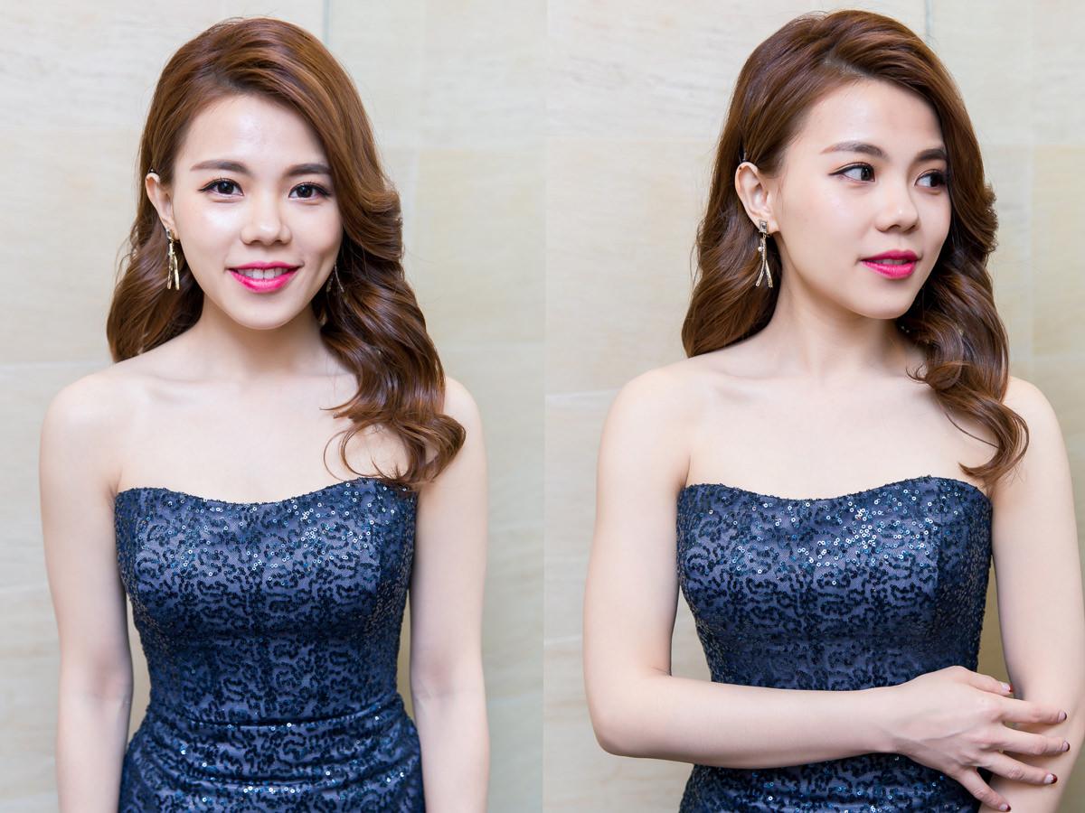 高雄新秘|賽西亞婚紗|wedding hairstyle|深藍色禮服|名媛風側邊髮造型