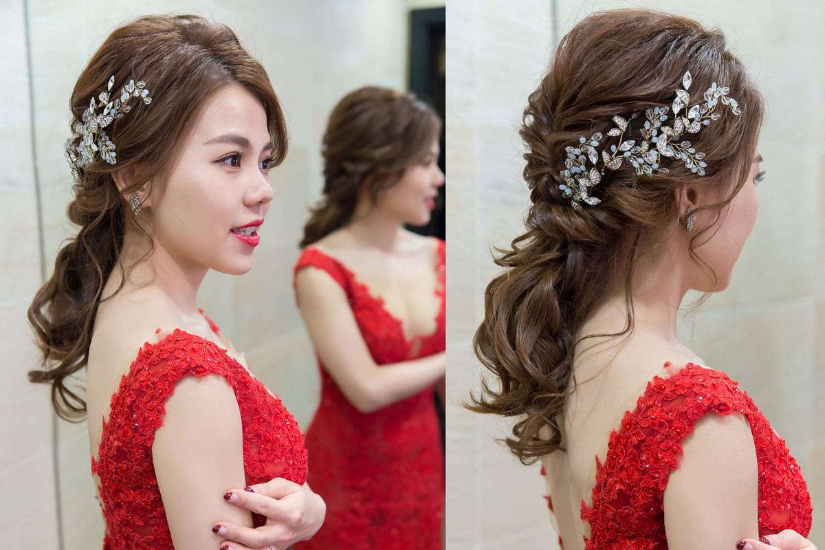高雄新秘|賽西亞婚紗|wedding hairstyle|低馬尾造型|丸子頭造型|白紗造型|紅色禮服|深藍色禮服
