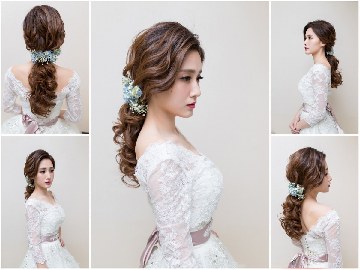 高雄新秘|鮮花造型|蓬鬆感低馬尾造型|蕾絲罩衫|線條感低馬尾造型|白紗造型|Bridal hair flowers|wedding hairstyle