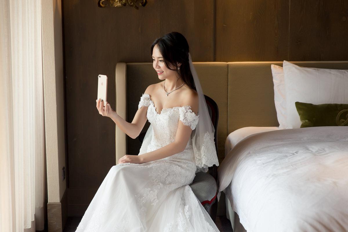 古銅肌黑髮新娘公主頭迎娶造型-君品酒店