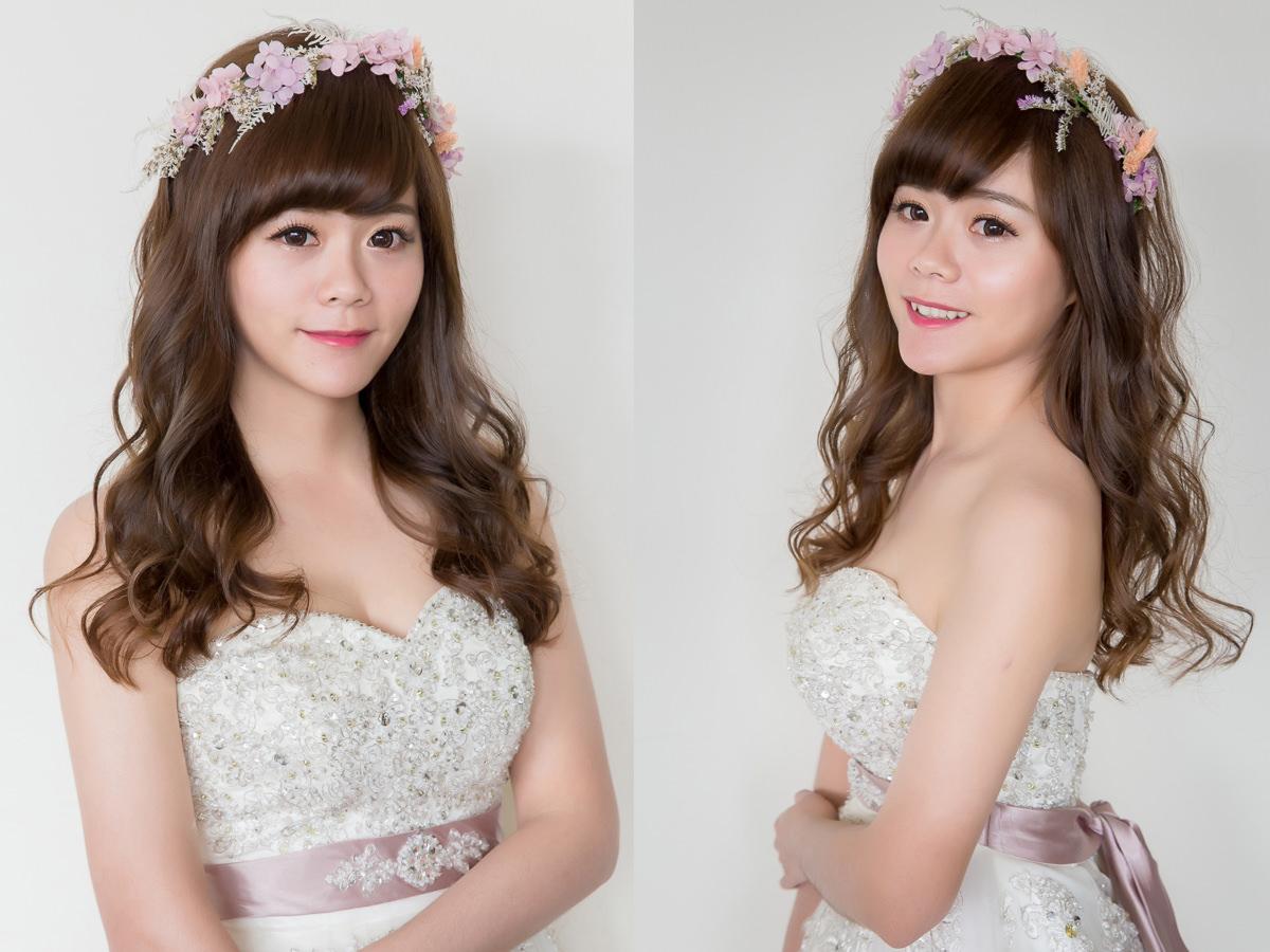 高雄新秘|wedding hairstyle|新娘造型|不凋花花環造型|白紗造型|C型瀏海|髮量少新娘|新娘秘書YUKI|新娘髮型