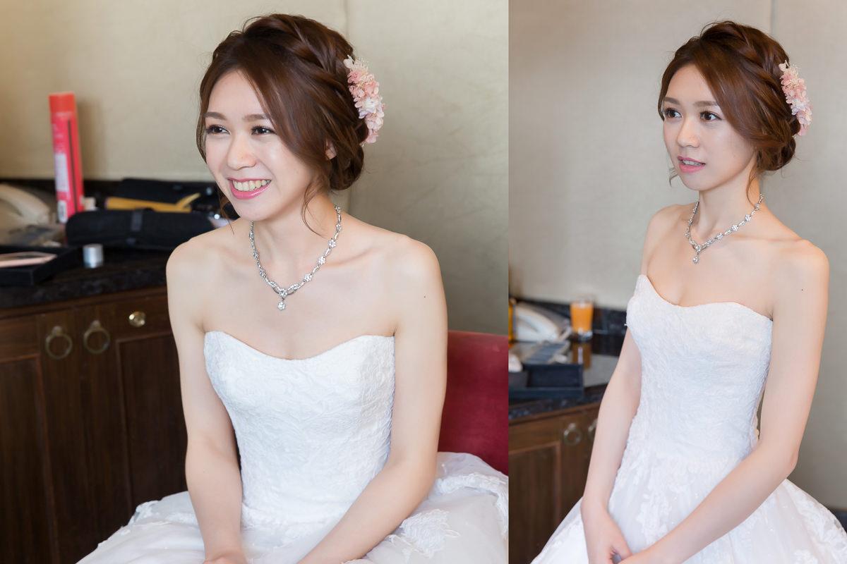 不凋花新娘造型 粉色系不凋花白紗進場造型-若婷婚宴