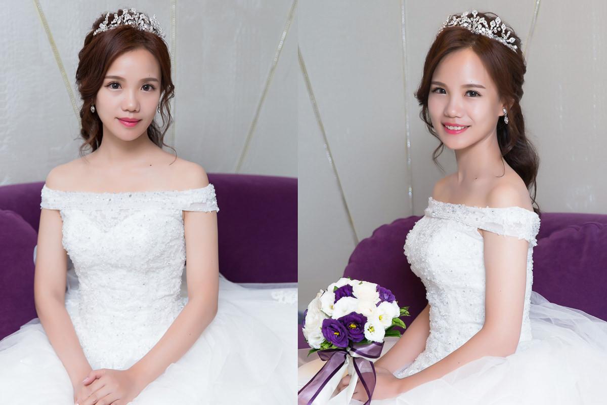 白紗進場造型|新娘髮型| wedding hairstyle|高雄新秘YUKI|公主頭造型|甜美風|My Party手工婚紗