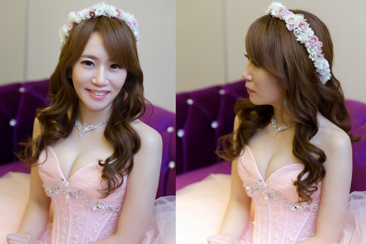新娘造型, 長捲髮大波浪,新娘秘書Yuki,新娘髮型,高雄新秘,wedding hairstyle, 乾燥花花環造型