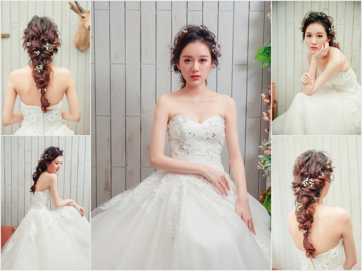 新娘髮型,wedding hairstyle, 後編髮造型, 鮮花造型,高雄新秘YUKI, 減齡妝,白紗造型, 新娘物語雜誌