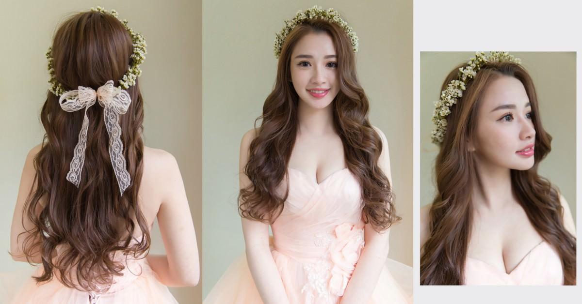 新娘秘書,新秘,新娘造型,新娘髮型, 花環造型, 鮮花造型,高雄新秘,wedding hairstyle,自然新娘妝容