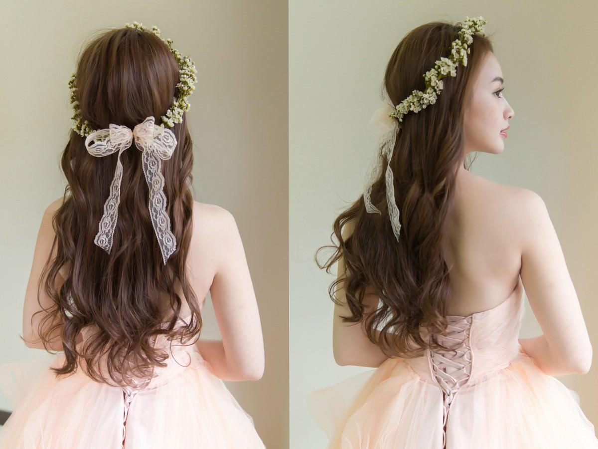 橘色禮服,新娘秘書,新秘,新娘造型,新娘髮型, 花環造型, 鮮花造型,高雄新秘,wedding hairstyle,自然新娘妝容