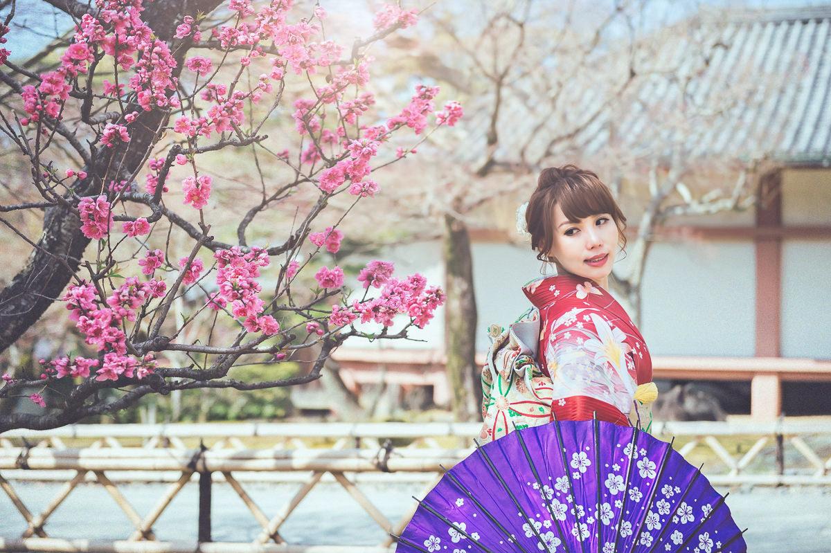 日本海外婚紗 京都櫻花婚紗 京都婚紗 日本拍婚紗 櫻花婚紗 新娘外拍造型 振袖造型 和服造型