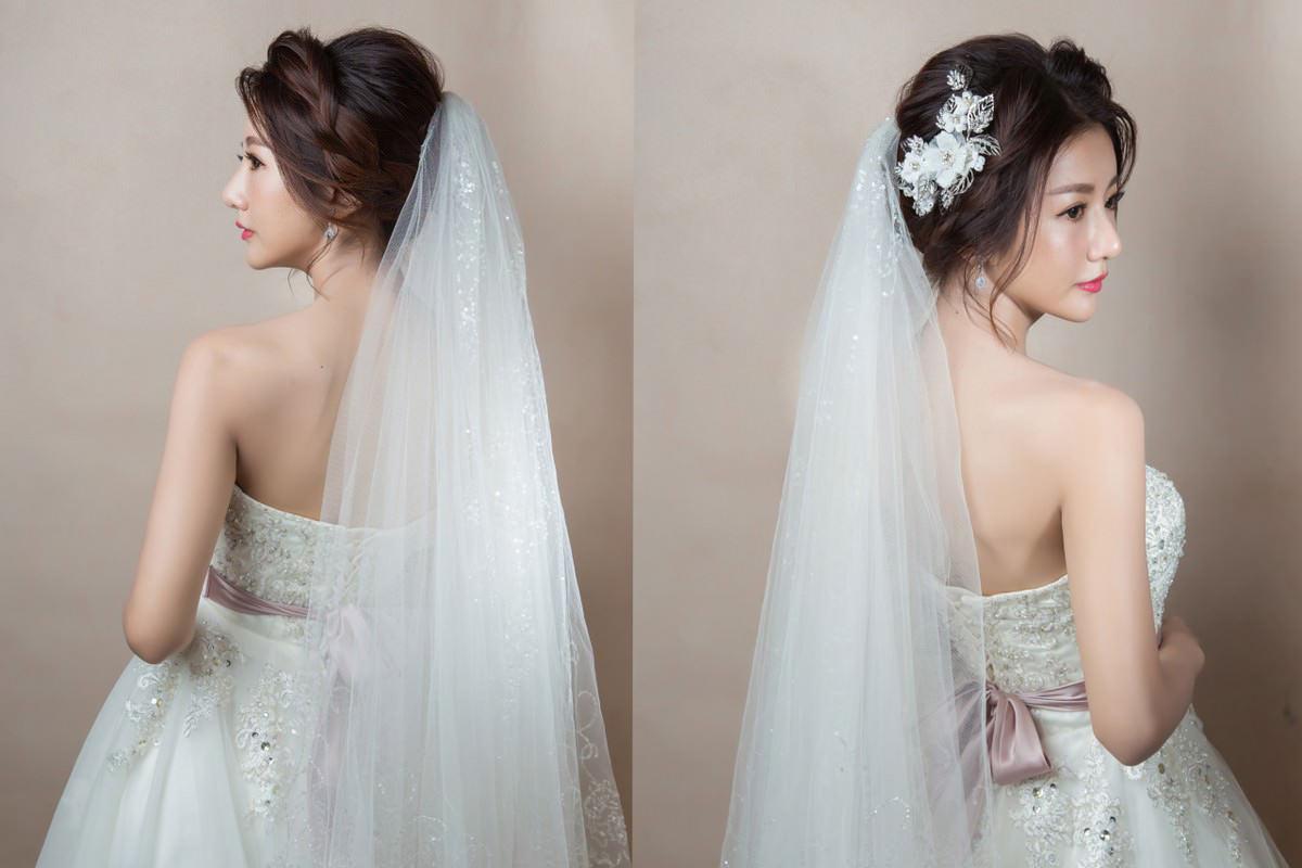 白紗迎娶造型 年輕感的編髮造型搭配水晶頭紗