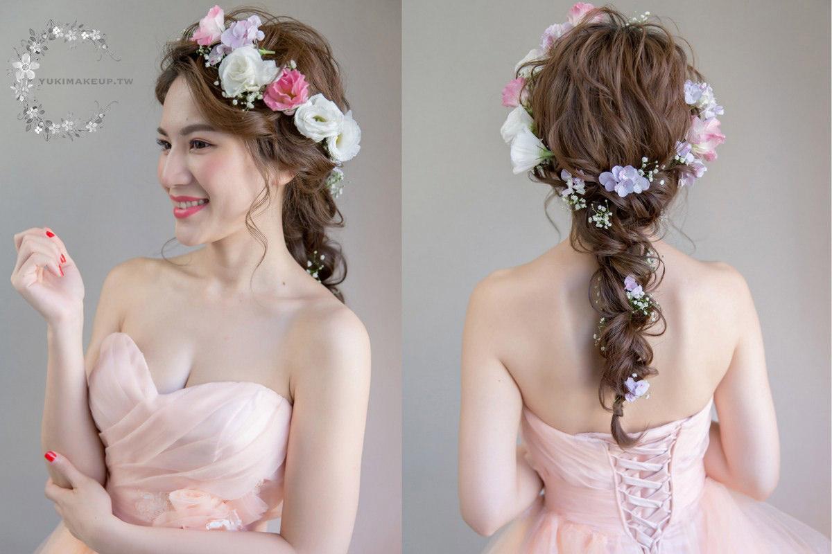 新娘秘書|鮮花造型|花環造型|新秘|新娘造型|新娘髮型|高雄新秘|wedding hairstyle|編髮造型|粉紅妝|新秘YUKI