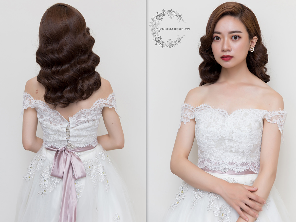 新娘秘書|新秘|新娘造型|台北新秘|新娘髮型|wedding hairstyle||修容|水波紋造型|白紗造型|復古造型