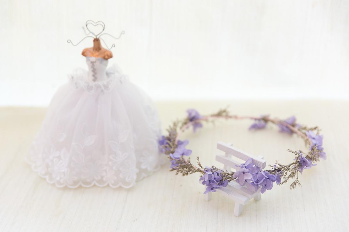 紫色系繡球花混卡斯比亞花環