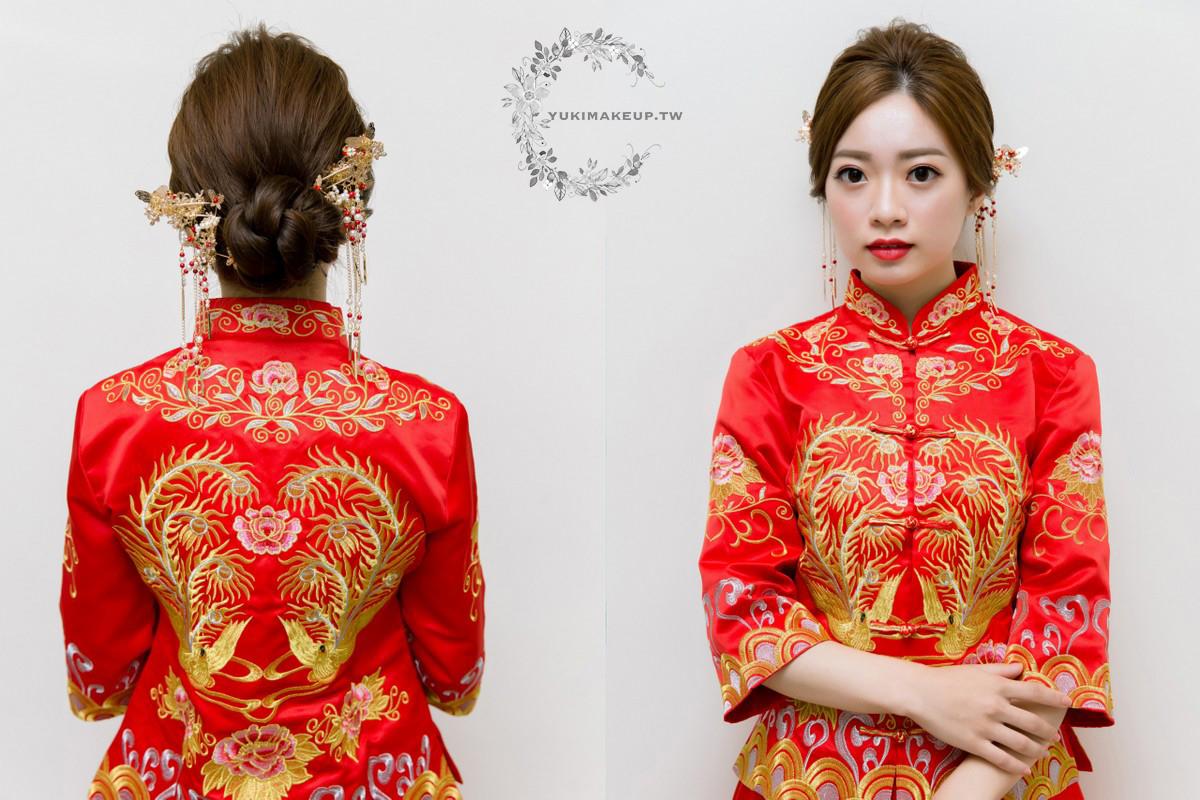 秀禾服造型|簡單的低盤髮簪造型,讓低調新娘也能輕易駕馭秀禾服