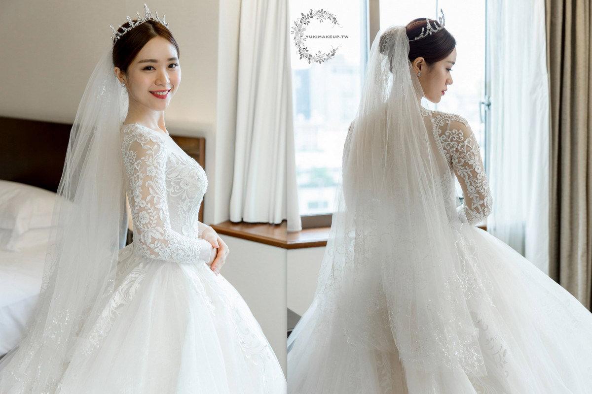 白紗造型 新娘秘書 新秘  新娘造型  新娘髮型 中分盤髮造型  台北新秘 皇冠造型 wedding hairstyle