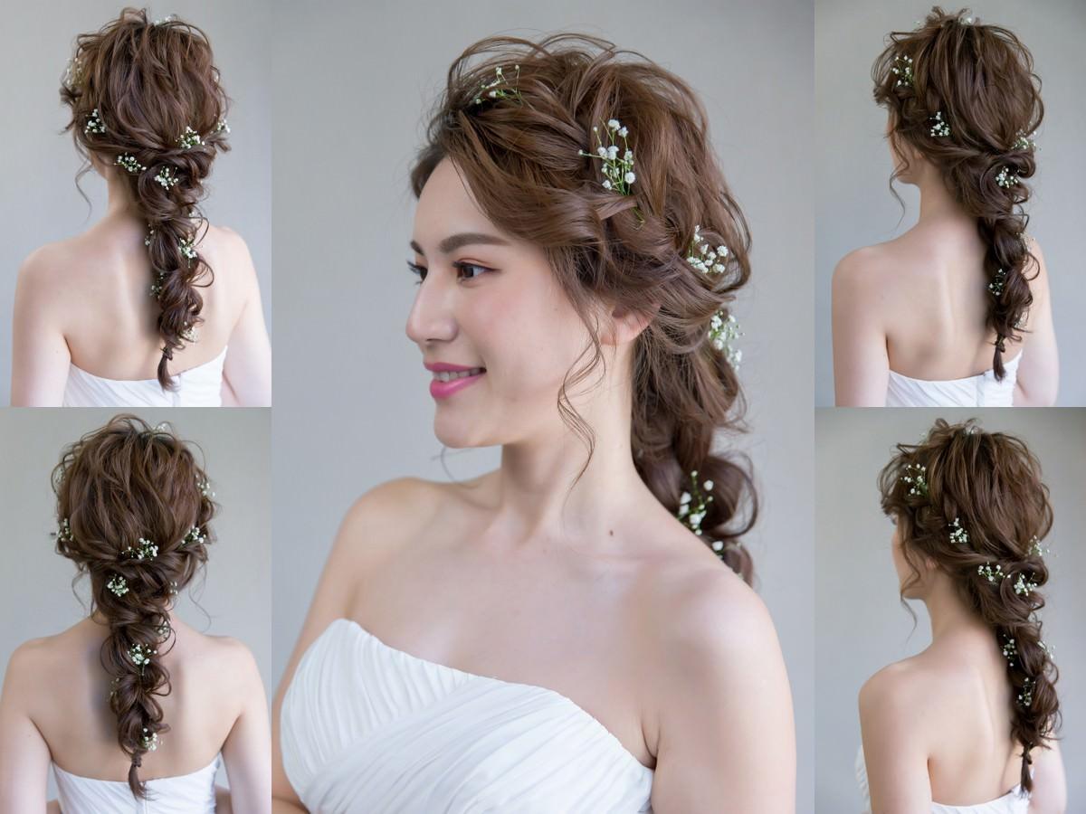 新秘Yuki│新秘推薦│北部新秘│白紗造型│鮮花造型│四股編│新娘編髮│新娘髮型│four strand braid│2017 Wedding Hairstyles